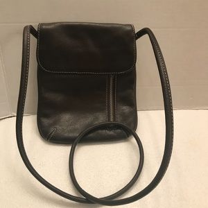 Tignanello Brown Pebble Leather Crossbody Bag